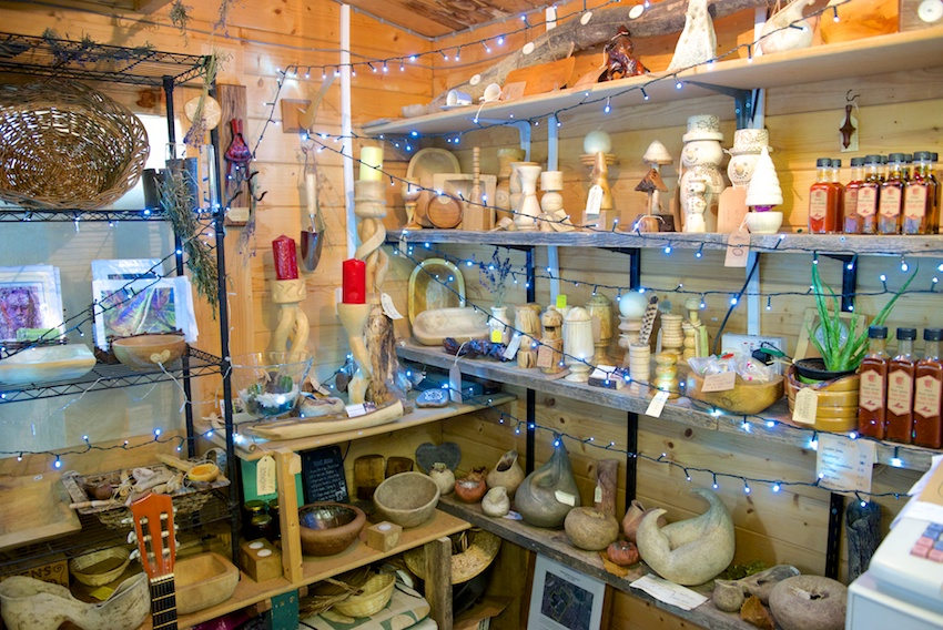 Wooden ornaments, nature inspired pottery, honey, chutneys and sauces, all made on site