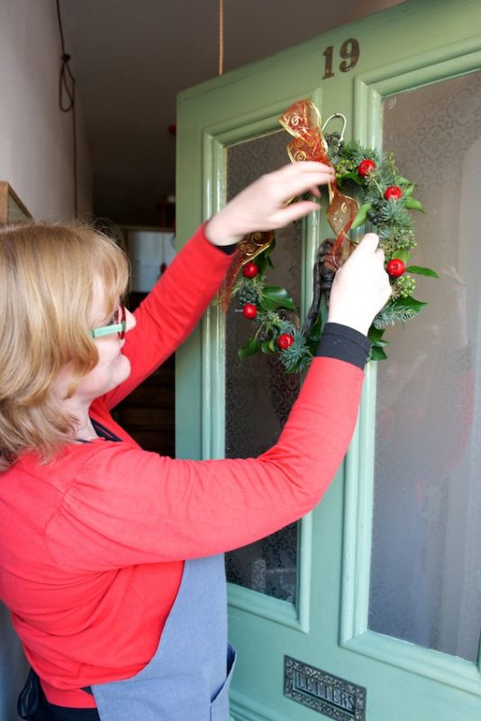Floristry, Faversham, Christmas wreath, Julie Davies