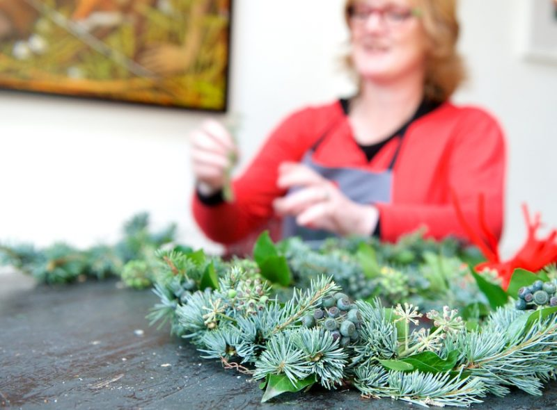 Evergreens, Floristry, Faversham, Christmas wreath, Julie Davies