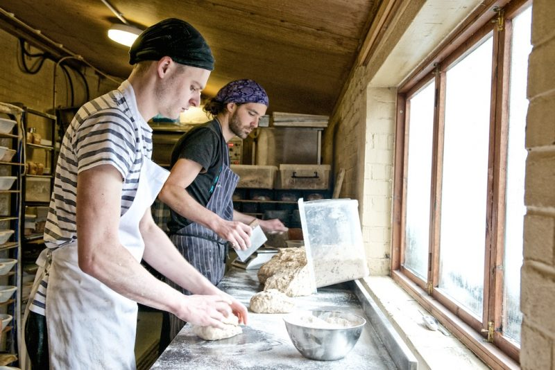 Bakery: Dividing and shaping the dough by hand