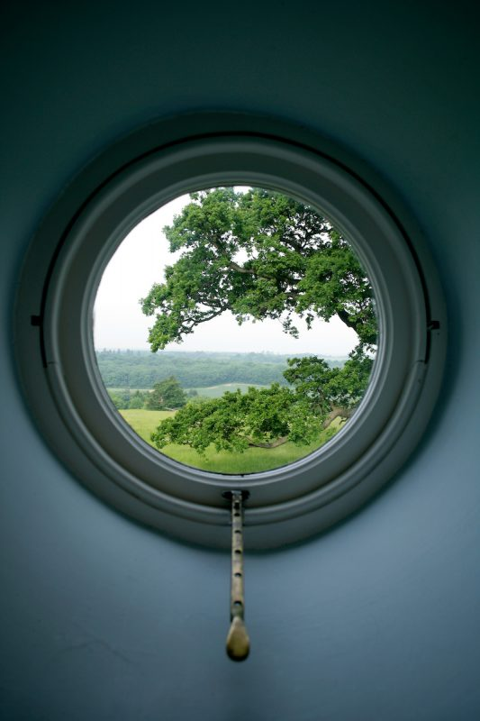 Belmont: The view out of glorious Kentish countryside framed by a oval window