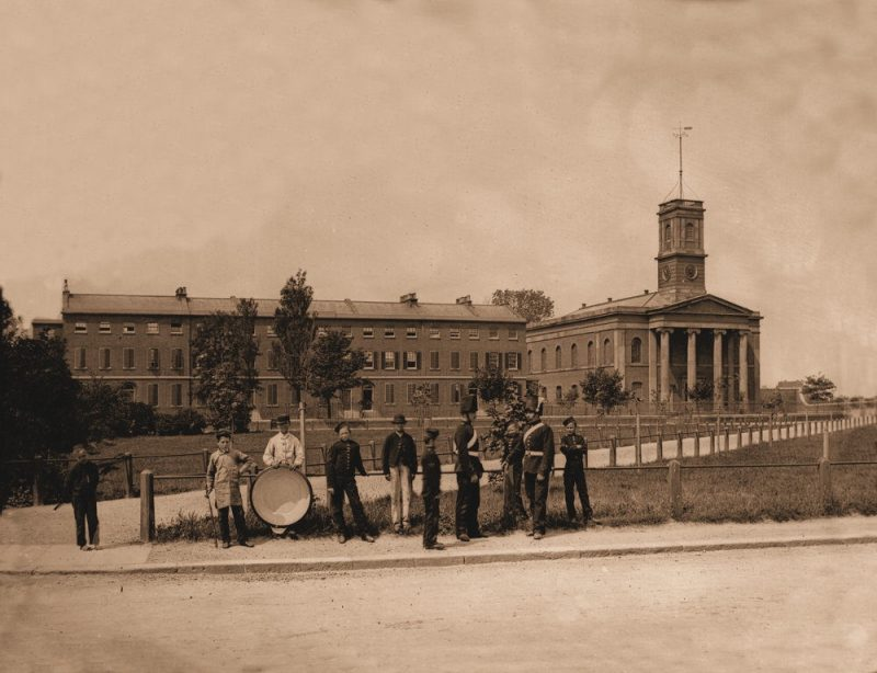 Naval Terrace and Dockyard Church captured in this rare photograph from the 1870s