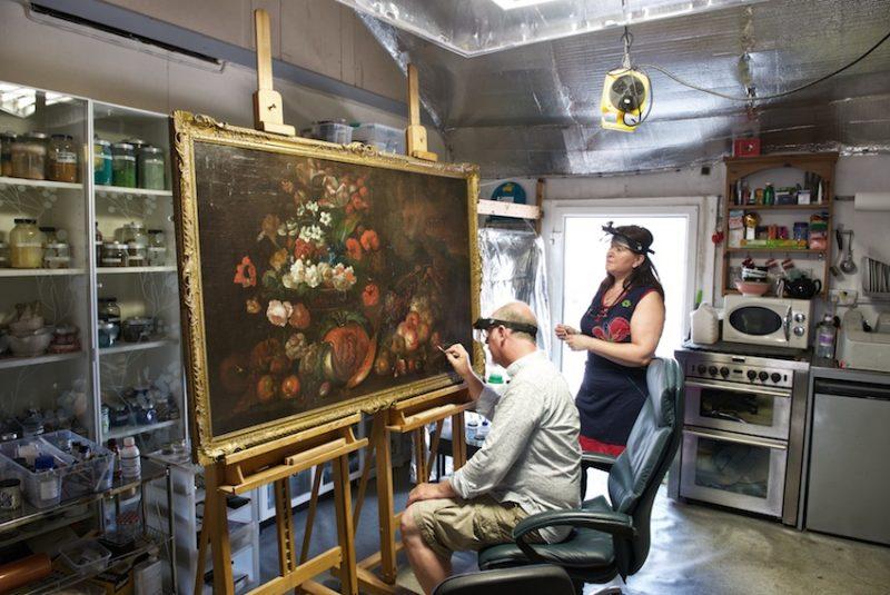 Tom and Rita at work in the studio