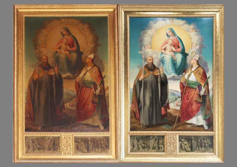 Before and after treatment: Ferdinand Platner's painting of Our Lady with the Holy Child and the Figures of St Augustine and St Thomas of Canterbury, now returned to AWN Pugin's Church of St Augustine at Ramsgate