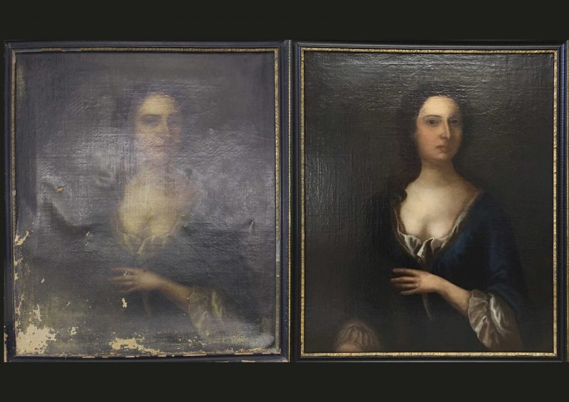 Before and after: a damaged family portrait restored by Rita to its 18th century glory