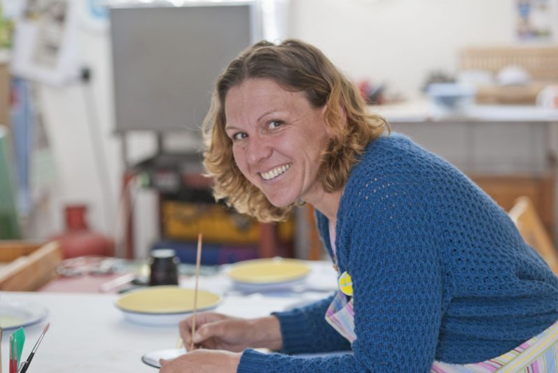 Enameller Kate Samuels in her Herne Bay studio