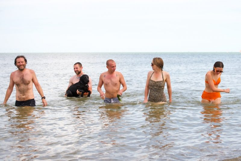 (l-r) Damian, David and Django, William, Posy and Minna swimming wildly for Faversham Life