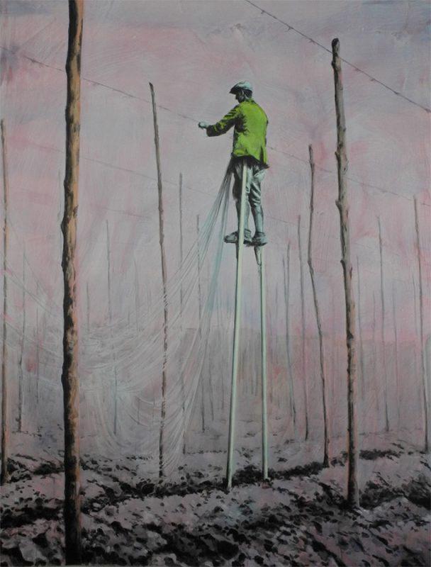 Kentish hops. 'Stringing the Hops' by Felicity Warbrick. Acrylic on paper 160cm x 120cm