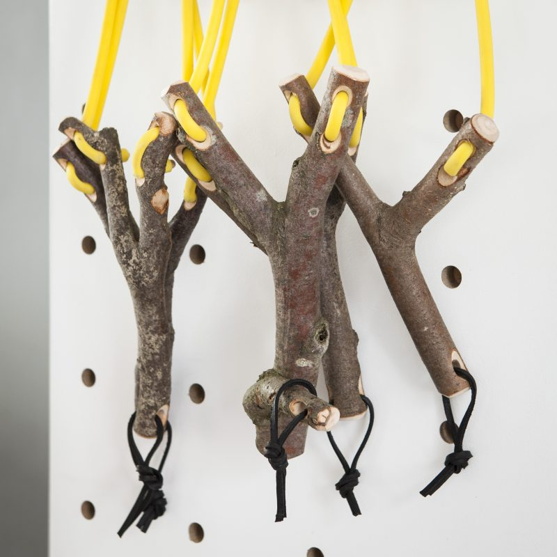 Frank: Geoff Fisher uses wood in its natural forms to make catapults and 'trooks' (a compression of 'tree hooks')