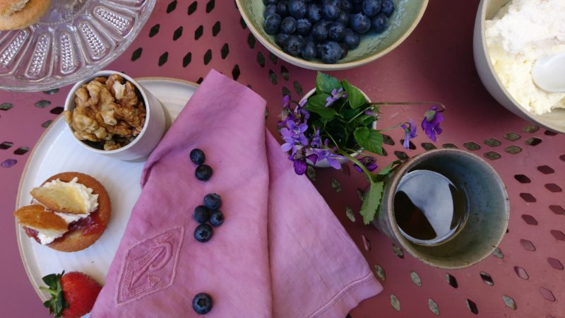 Vintage napkins, dyed pink with cochineal from the Canary Islands. Bowls by Lucy Rutter