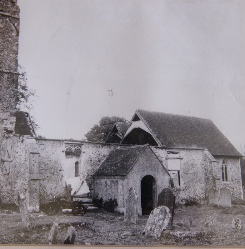 War damage to Challock Church
