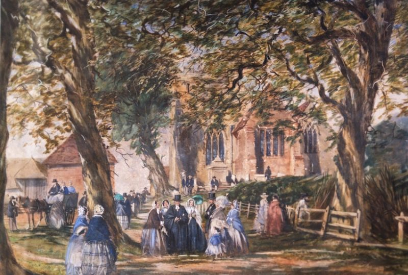 19th century w/c of Throwley Church, Kent