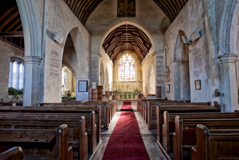 Looking down the aisle, Throwley Church, Kent