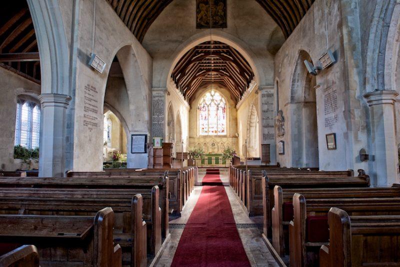 Looking down the aisle, Throwley Church, Kent