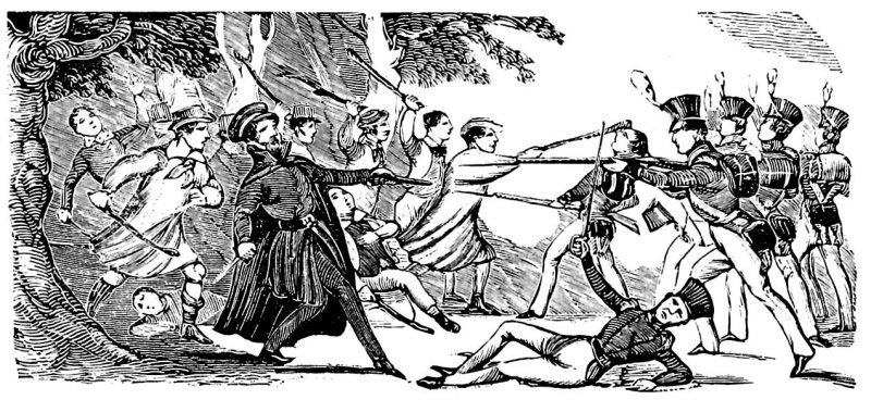 The scene at Bossenden Wood drawn by an eyewitness, for the Penny Satirist