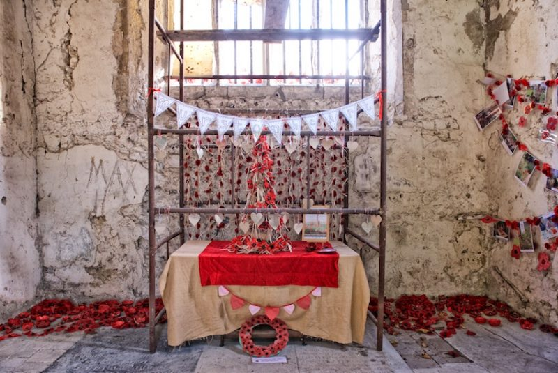 the interior of the church with a special poppy installation