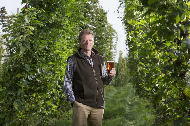 Jonathan Neame, Chief Executive of Shepher Neame in a Kentish hop garen