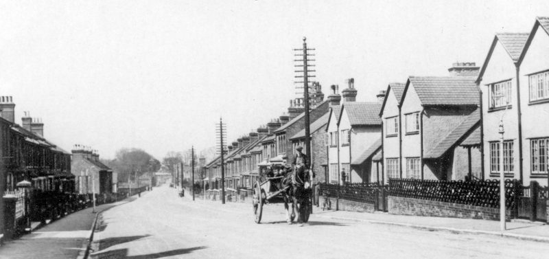 Whitstable Road in 1935. In the background is the bridge that carried the freight train from the creekside