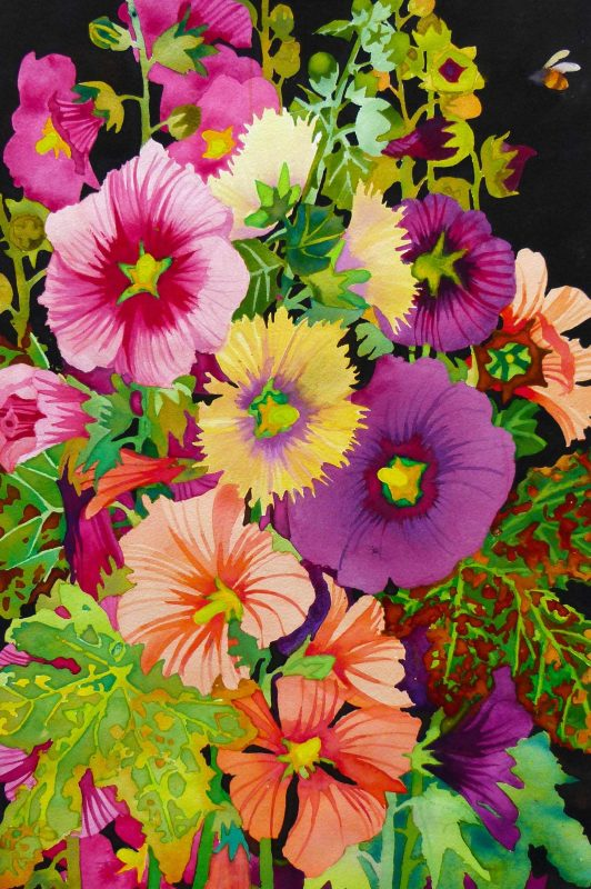 Hollyhocks by Liz Bradley