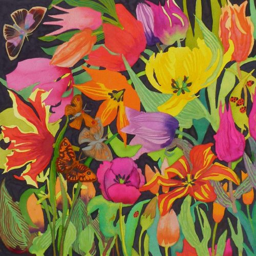 Liz is a fanatical gardener and a marine zoology graduate, and all her paintings are botanically correct