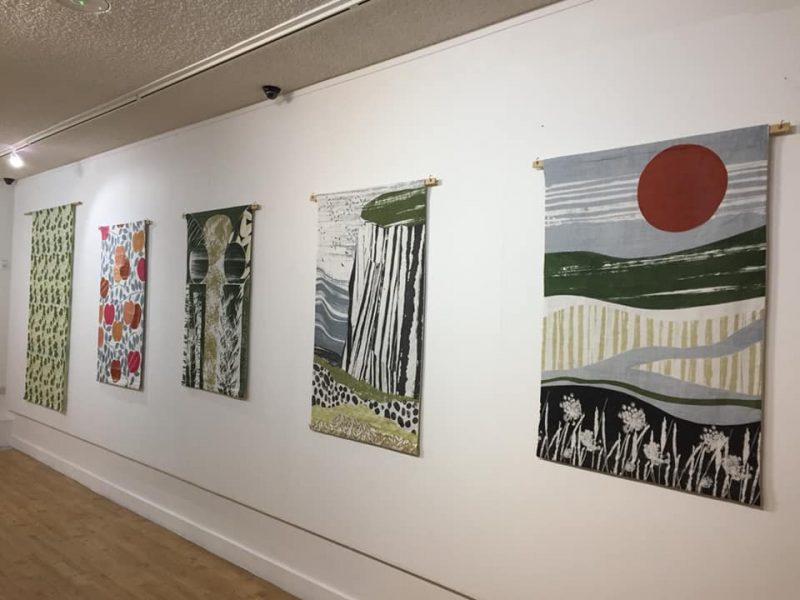 Francesca Baur's wall hangings inspired by Elmley Nature Reserve, Pines Calyx, Doddington Place and Brogdale
