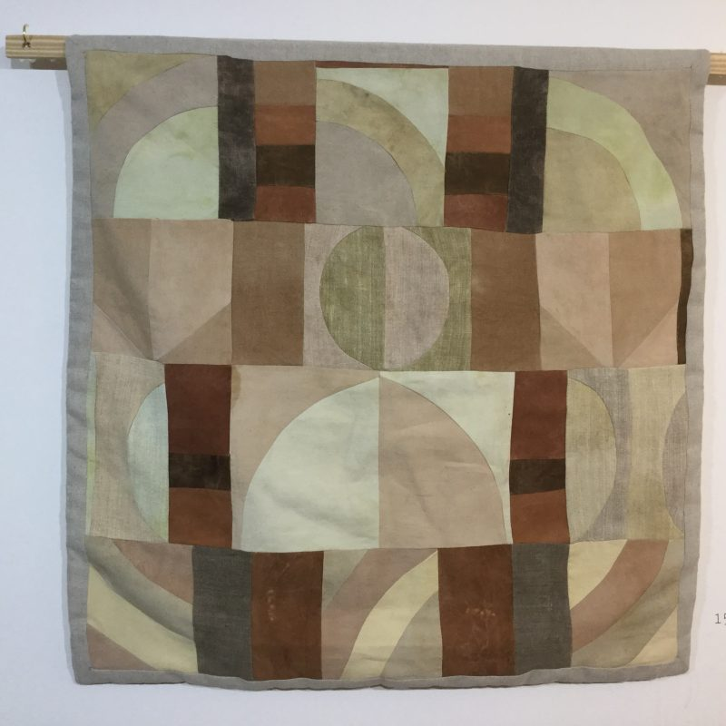 Quilted patchworks created by Francesca Baur from foraged dye stuffs