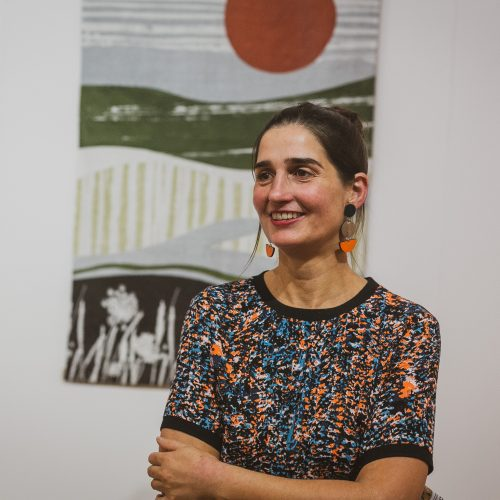 Francesca Baur at the Kent Cloth Project private view