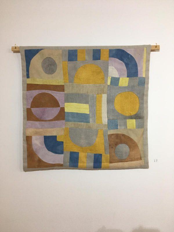 Patchwork created by Francesca Baur from foraged dye stuffs