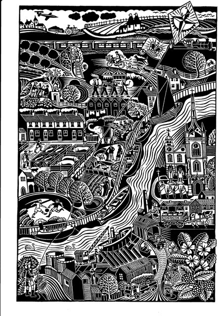 Faversham Creek,a lino cut by Hugh Ribbans from Top Hat and Tales
