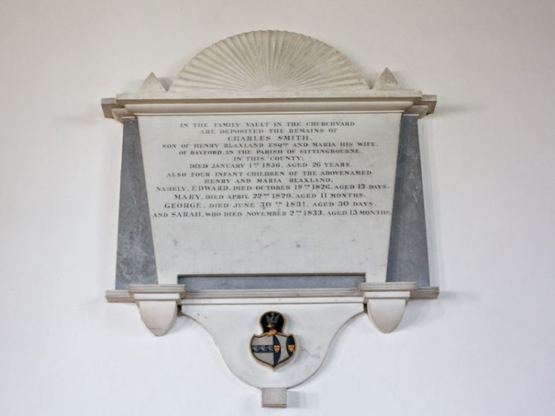 One of the many memorials to the Blaxland family, past owners of Graveney Court