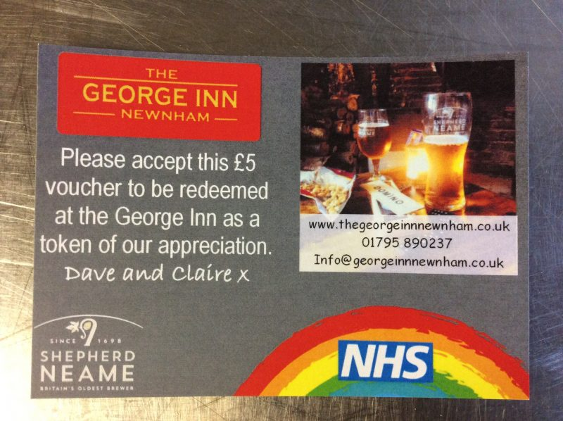 £5 voucher to all the NHS staff at Medway Hospital
