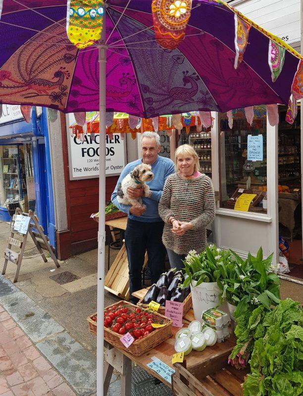 Noel Fitzjohn, Carole Killen and Betty outside Oystercatcher Foods, 120 West Street, Faversham