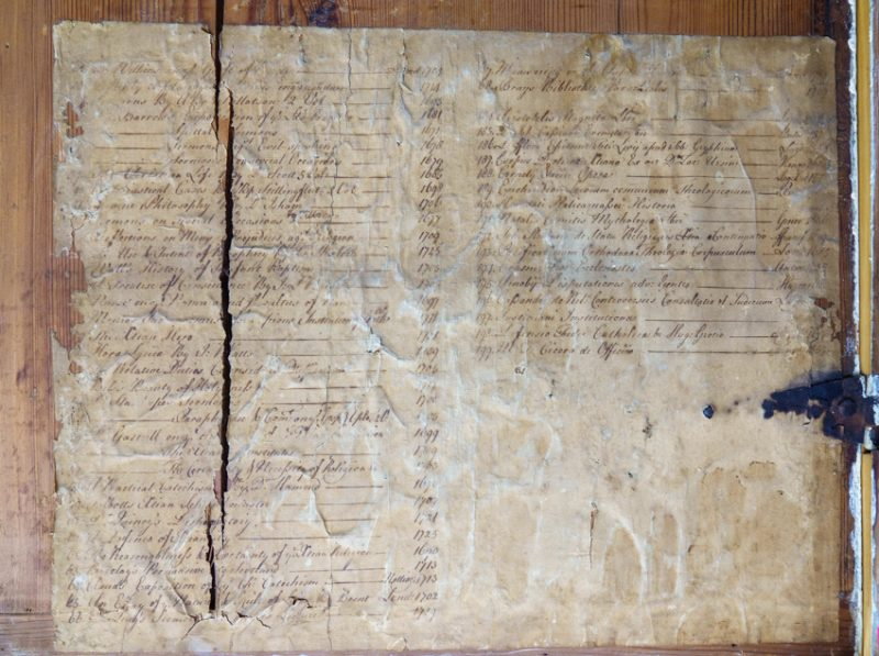 A manuscript library list preserved inside one of the chests