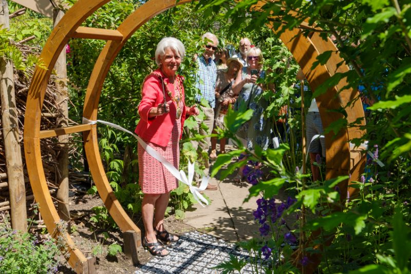 Faversham's Mayor, Cllr. Alison Reynolds opening the Moon garden at the Abbey Physic Garden.