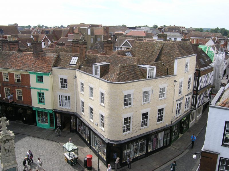 The simple, ordered mathematically tiled facade of No.16 Mercery Lane/38 Burgate, Canterbury conceals a complex timber-framed building dating from the 15th, 16th and 17th centuries