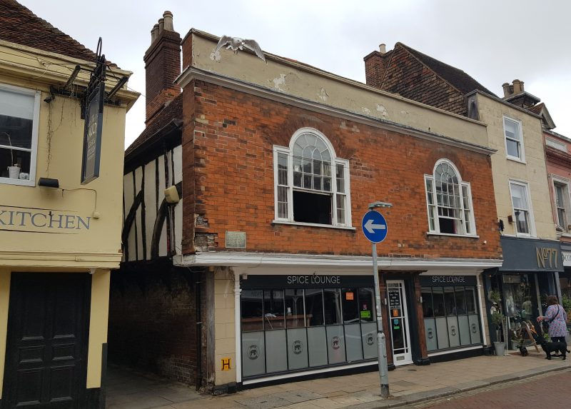 Edward Jacob, one time Mayor of Faversham transformed his ancient house in Preston Street by adding mathematical tiles, a parapet and a pair of handsome Palladian windows.